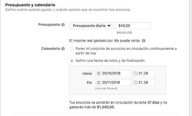 presupuesto y calendario - marketing digital para restaurantes